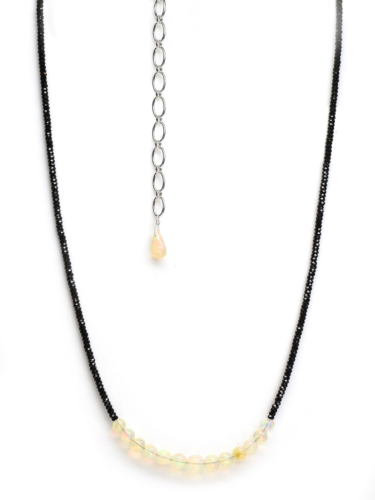 Black Spinel with Opal Bead Necklace